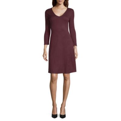 Worthington 3/4 Sleeve Fit & Flare Dress