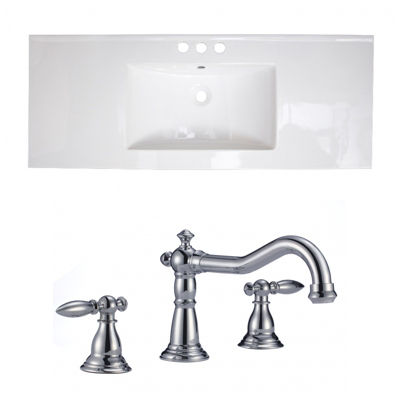 48.75-in. W 3H8-in. Ceramic Top Set In White Color- CUPC Faucet Incl.