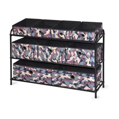 Bintopia™ Deluxe Storage Rack with Fabric Bins - Green Multi/Black Trim