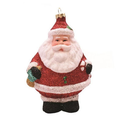 """5"""" Merry & Bright Red  White and Black Glittered Shatterproof Santa Claus Christmas Ornament"""""""