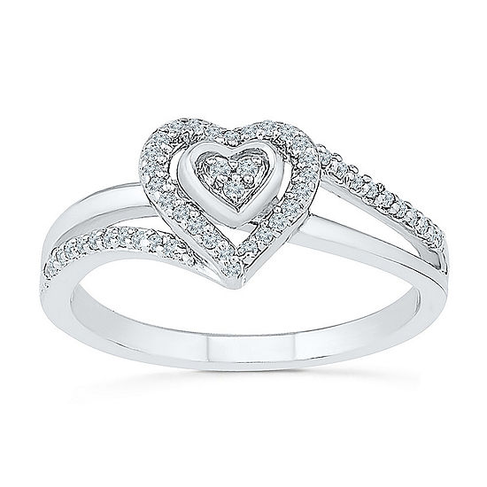 Promise My Love Womens 1/6 CT. T.W. Genuine White Diamond Sterling Silver Heart Promise Ring