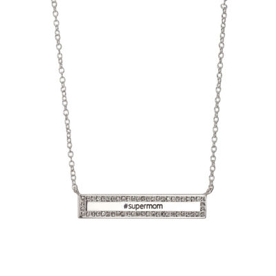 Footnotes She Rocks Womens Clear Crystal Pure Silver Over Brass Rectangular Pendant Necklace