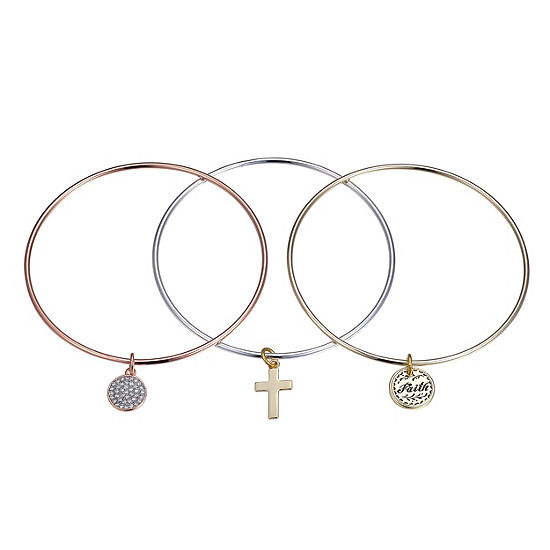Footnotes Clear Pure Silver Over Brass Bangle Bracelet