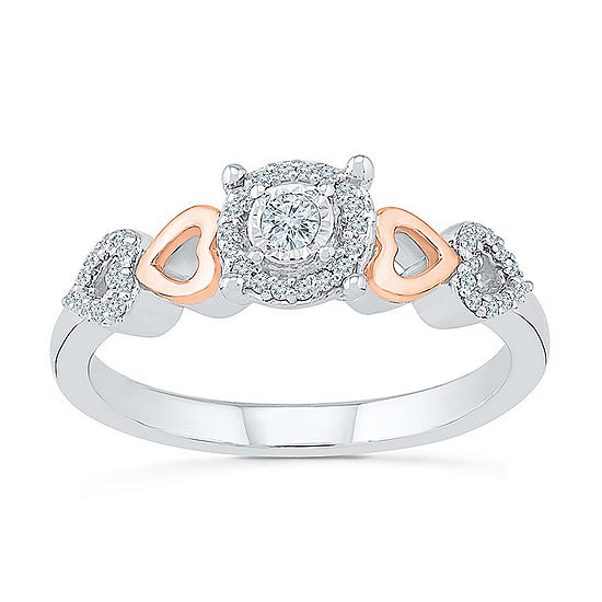 Promise My Love Womens 1/6 CT. T.W. Genuine White Diamond 10K Rose Gold Over Silver Sterling Silver Promise Ring