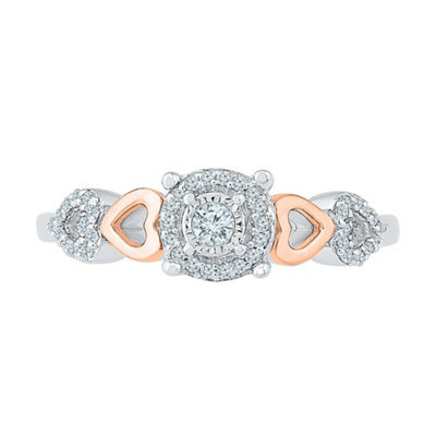 Promise My Love Womens 1/6 CT. T.W. White Diamond 10K Rose Gold Over Silver Sterling Silver Promise Ring
