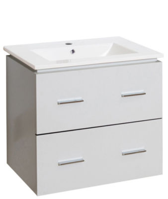 23.75-in. W Wall Mount White Vanity Set For 1 HoleDrilling