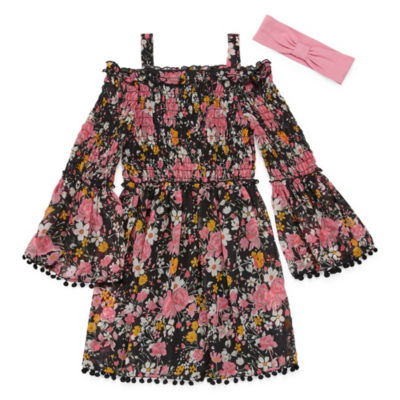 Emily West 3/4 Sleeve Bell Sleeve Floral A-Line Dress Girls
