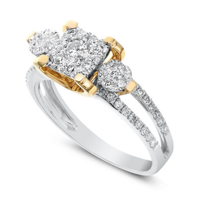 Womens 3/4 CT. T.W. Genuine White Diamond 14K Two Tone Gold Engagement Ring