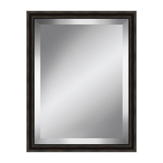 Distressed Dark Brown Beveled Plate Mirror