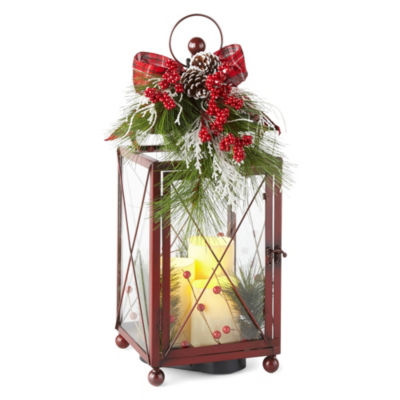 North Pole Trading Co. Winter Farmhouse LED Red Decorative Lantern
