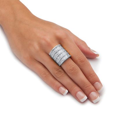 Womens White Cubic Zirconia Brass Cocktail Ring
