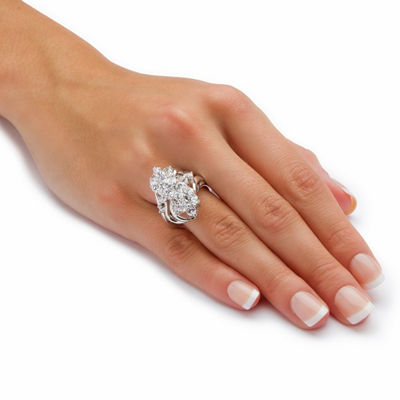 Womens 3 1/2 CT. T.W White Cubic Zirconia Brass Cocktail Ring