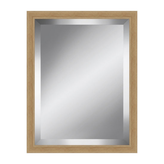 Distressed Natural Wood Effect Beveled Plate Mirror