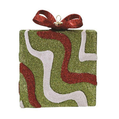 "5"" Merry & Bright Green  Red and White Glitter Swirl Shatterproof Gift Box Christmas Ornament"""