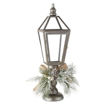 North Pole Trading Co. Holiday Frost Silver Orb Decorative Lantern