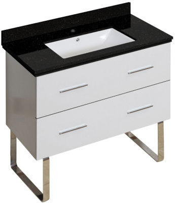 36-in. W Floor Mount White Vanity Set For 1 Hole Drilling Black Galaxy Top White UM Sink