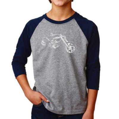 Los Angeles Pop Art Boy's Raglan Baseball Word Art T-shirt - MOTORCYCLE