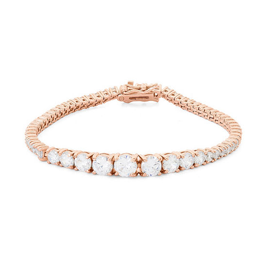 Diamonart White Cubic Zirconia 14K Rose Gold Over Silver Sterling Silver 7.25 Inch Tennis Bracelet
