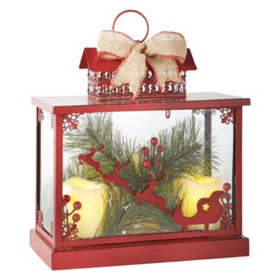 North Pole Trading Co. Winter Farmhouse LED Die-Cut Santa Sleigh Decorative Lantern