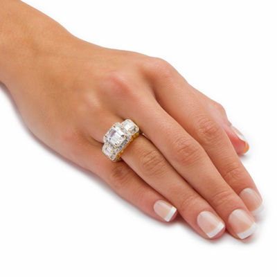 Diamonart Womens 5 CT. T.W. White Cubic Zirconia Gold Over Silver Cocktail Ring