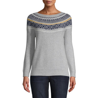 St. John's Bay Long Sleeve Boat Neck Pullover Sweater