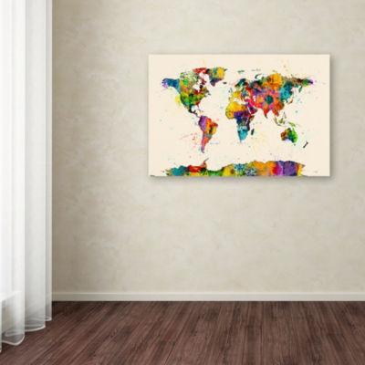 Trademark Fine Art Michael Tompsett Map of the World Watercolor II Giclee Canvas Art