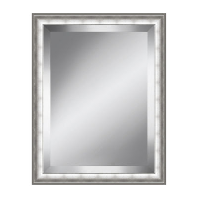 Brushed Silver Beveled Plate Mirror