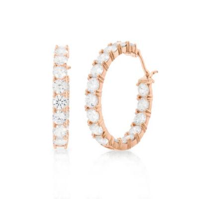Diamonart White Cubic Zirconia 14K Rose Gold Over Silver 32.6mm Hoop Earrings
