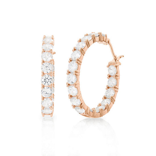Diamonart White Cubic Zirconia 14K Rose Gold Over Silver 32.6mm Hoop Earrings