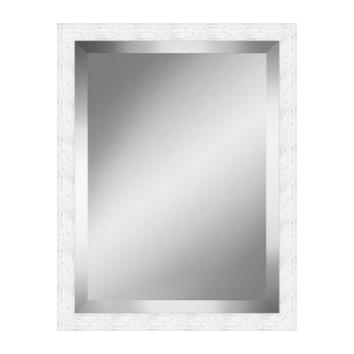 White Distressed Rustic Beveled Plate Mirror