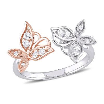 Laura Ashley Womens 1/4 CT. T.W. White Diamond Cocktail Ring