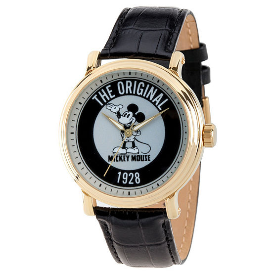 Disney Mickey Mouse Mens Black Leather Strap Watch-Wds000607