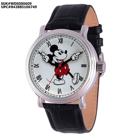 Mickey Mouse Mens Black Leather Strap Watch-Wds000609