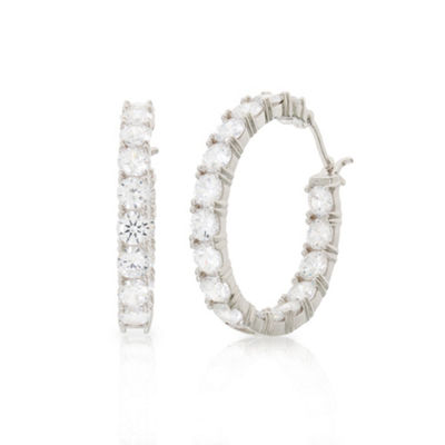 Diamonart White Cubic Zirconia Sterling Silver 32.6mm Hoop Earrings