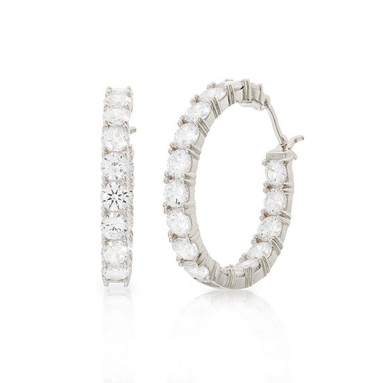 Diamonart White Cubic Zirconia Sterling Silver 32.6mm Hoop Earrings