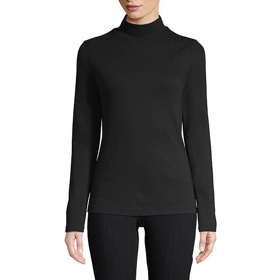 St. John's Bay-Womens Mock Neck Long Sleeve T-Shirt