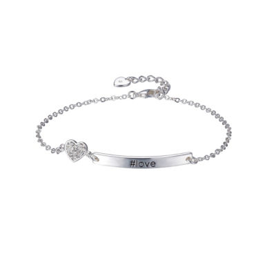 Footnotes She Rocks Womens 7 1/4 Inch Clear Silver Over Brass Chain Bracelet