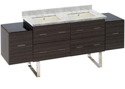 76-in. W Floor Mount Dawn Grey Vanity Set For 1 Hole Drilling Bianca Carara Top Biscuit UM Sink