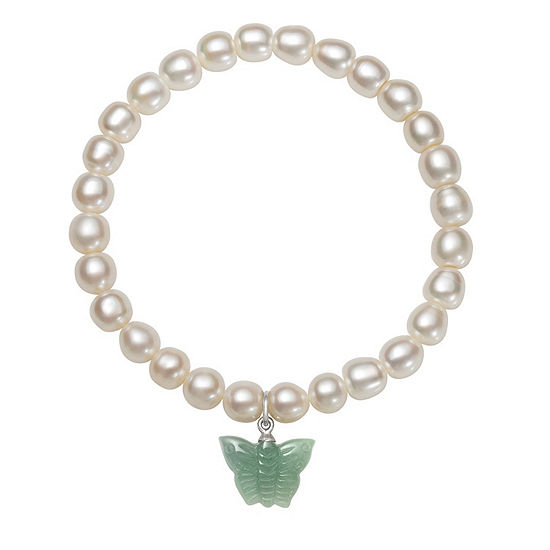 Green Jade Cultured Freshwater Pearl Sterling Silver Butterfly Stretch Bracelet