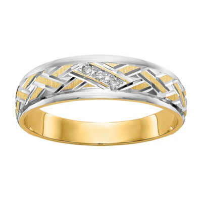 Mens White Diamond Accent 14K Gold Wedding Band