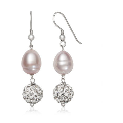 White Cultured Freshwater Pearl Sterling Silver Round Drop Earrings