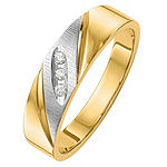 Mens 4MM Diamond Accent Genuine White Diamond 14K Gold Wedding Band