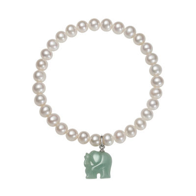 Womens Green Jade Stretch Bracelet