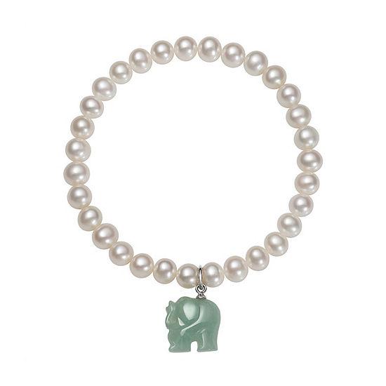 Green Jade Cultured Freshwater Pearl Sterling Silver Stretch Bracelet