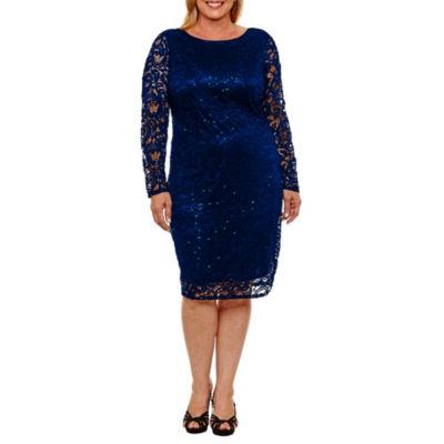 Blu Sage Long Sleeve Sequin Lace Sheath Dress - Plus