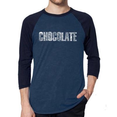 Los Angeles Pop Art Men's Raglan Baseball Word Art T-shirt - Different foods made with chocolate