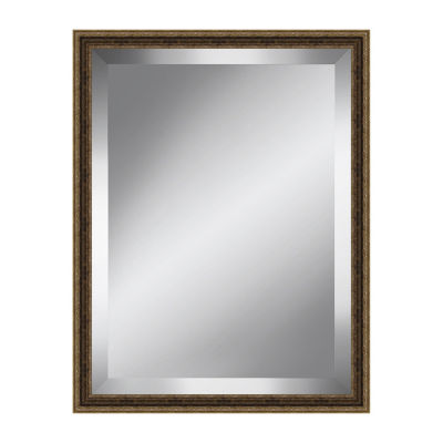 Traditional Brown and Gold Beveled Plate Mirror