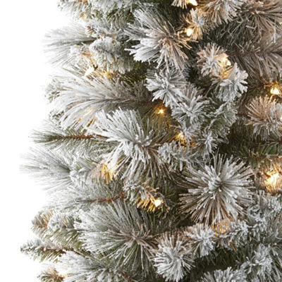 North Pole Trading Co. 7 Foot Dresden Pre-Lit Flocked Christmas Tree