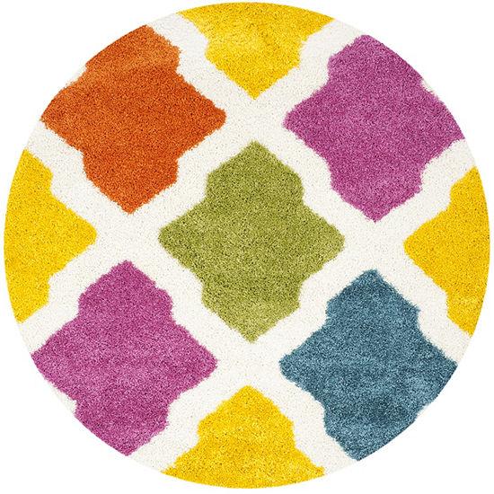 Safavieh Shag Kids Collection Deirdre Geometric Round Area Rug