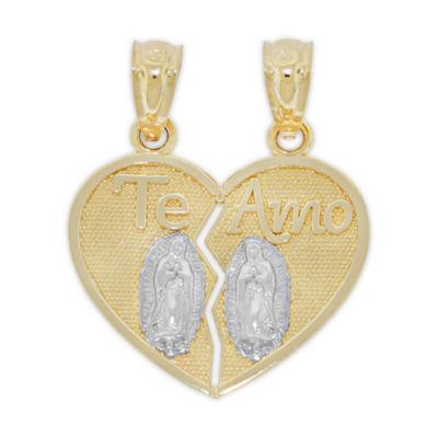 Religious Jewelry Unisex 14K Gold Heart Pendant